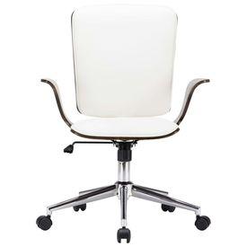Scaun de birou rotativ, alb, piele ecologică și lemn curbat