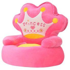 Scaun din pluș pentru copii, Princess, roz