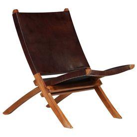 Scaun relaxant, piele naturală, 59 x 72 x 79 cm, maro