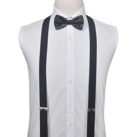 Set accesorii costum seară/frac bărbați bretele & papion, negru