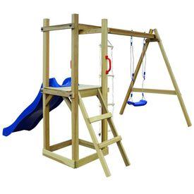 Set joacă din lemn cu tobogan, scări, leagăn 242x237x175 cm FSC