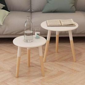 Set masă laterală 2 piese, lemn masiv de pin, alb