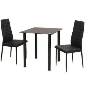 Set masă și scaune de bucătărie, trei piese, negru