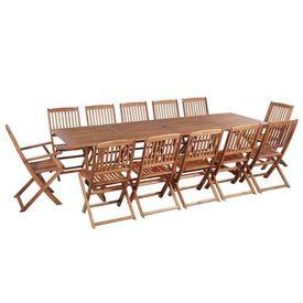 Set mobilier de exterior 13 piese, lemn masiv de acacia