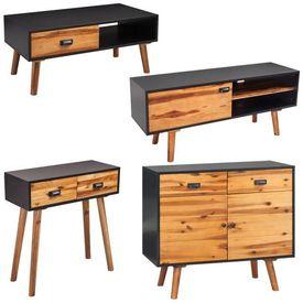 Set mobilier de sufragerie, 4 piese, lemn masiv de acacia