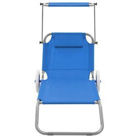 Șezlong de plajă pliabil cu baldachin și roți, albastru, oțel