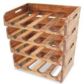 Suporturi sticle de vin, 4 buc, 16 sticle, lemn masiv reciclat