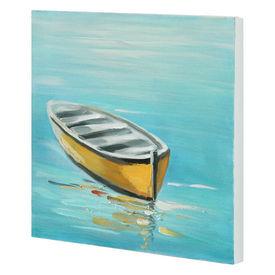 Tablou pictat manual - barca - panza in, cu rama ascunsa - 30x30x2,8cm