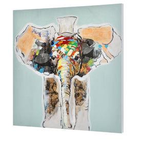 Tablou pictat manual - elefant Model 13 - panza in, cu rama ascunsa - 80x80x3,8cm
