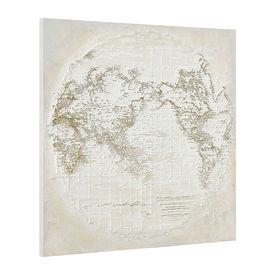 Tablou pictat manual - glob pamantesc - panza in, cu rama ascunsa - 100x100x3,8cm