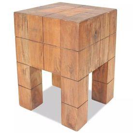 Taburet din lemn masiv reciclat, 28 x 28 x 40 cm