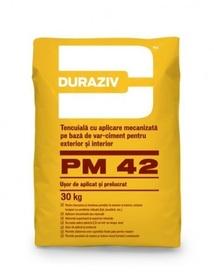 Tencuială cu aplicare mecanizată pe bază de var-ciment, pentru exterior și interior DURAZIV PM42 -  30 kg