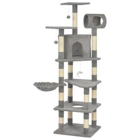 vidaXL Ansamblu pentru pisici cu stâlpi funie sisal, gri, 165 cm