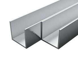 vidaXL Canale din aluminiu cu profil în U, 4 buc., 2 m, 20x20x2 mm