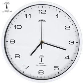 vidaXL Ceas de perete controlat prin semnal radio, cuarț, alb, 31 cm
