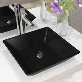vidaXL Chiuvetă ceramică pătrată, Negru, 41,5x41,5x12 cm