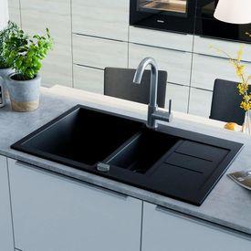 vidaXL Chiuvetă de bucătărie din granit, bazin dublu, negru