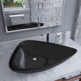 vidaXL Chiuvetă din ceramică, negru, 645 x 455 x 115 mm, triunghi