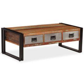 vidaXL Măsuță de cafea cu 3 sertare, lemn masiv reciclat, 100x50x35 cm