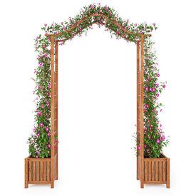 vidaXL Pergolă de grădină cu jardiniere, 180x40x218 cm, lemn acacia