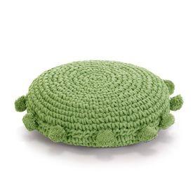 vidaXL Pernă pardoseală rotundă tricotată, bumbac 45 cm, verde