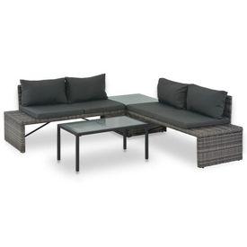 vidaXL Set mobilier de grădină cu perne, 3 piese, gri, poliratan
