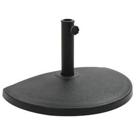vidaXL Suport umbrelă de soare, negru, 15 kg, polirășină, semi-rotund