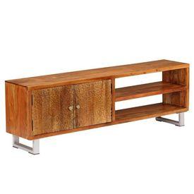 Comodă TV din lemn masiv cu uși sculptate, 140 x 30 x 40 cm