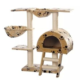 Ansamblu din sisal pentru pisici 105 cm pluș bej cu lăbuțe