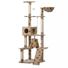 Ansamblu din sisal pentru pisici 191 cm cu imprimeu de lăbuțe, Bej