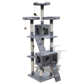Ansamblu din sisal pentru pisici  2 compartimente 170 cm, Gri