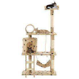 Ansamblu pisici, stâlpi funie sisal 140 cm imprimeu lăbuțe, bej