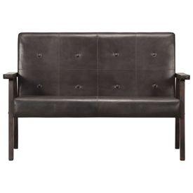 Canapea cu 2 locuri, gri, piele naturală