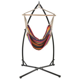 [casa.pro] Hamac fotoliu cu cadru HTGI-0703, 100 x 100 cm, 130 Kg, inaltime 205 cm, bumbac/poliester/metal, negru/multicolor