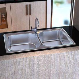 Chiuvetă bucătărie din inox pătrată cu două cuve