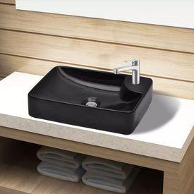 Chiuvetă de baie din ceramică cu gaură pentru robinet, negru