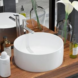 Chiuvetă de baie din ceramică, rotundă, 40 x 15 cm, alb