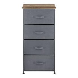 Comoda cu sertare Dona, 95 x 45 x 30 cm, metal/poliester/MDF, gri/efect lemn, cu 4 sertare