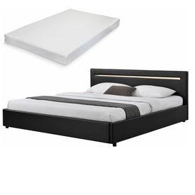 Corium® [my.bed] Pat elegant frantuzesc cu iluminat cu LED - cu saltea cu spuma recel - 140x200cm (Partea capului: imitatie de piele negru Rama: imitatie de piele negru) - cu rama pat