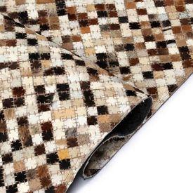 Covor piele naturală, mozaic, 120x170 cm, pătrat, maro/alb