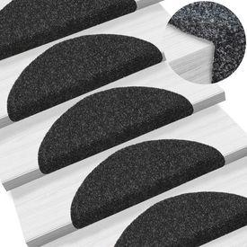 Covorașe autocolante de scări, 15 buc, 56 x 20 x 4 cm, negru
