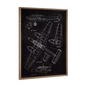 Design fotografie de perete pe placa de aluminiu - Avion (desen tehnic), 80x60x2,8cm, cu rama lemn