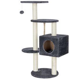 [en.casa]®.Mobila pisici - Lemn pentru ascutire gheare pisici cu jucarii si loc pentru odihna gri