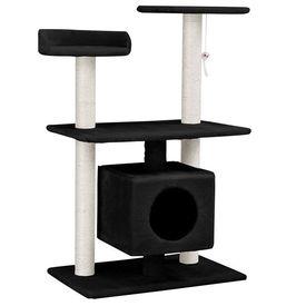 [en.casa]® Mobilier pisica - Sisal pisica cu jucarii si culcus 95 cm (culoare negru)
