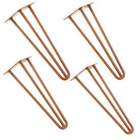 [en.casa]® Set 4 bucati picioare Hairpin Model 6, pentru masa – 3 brate, 40 cm, aramiu