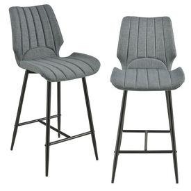 [en.casa] Set 2 scaune bar Noni 1, 102,5 x 46,5 cm, metal/poliester, gri inchis