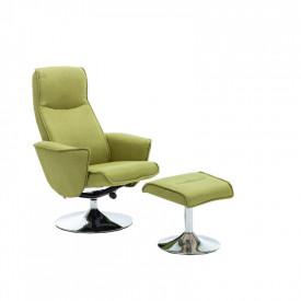 Fotoliu cu suport pentru picioare culoare verde Greenery GL LONATO
