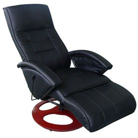Fotoliu de masaj electric, piele artificială, negru