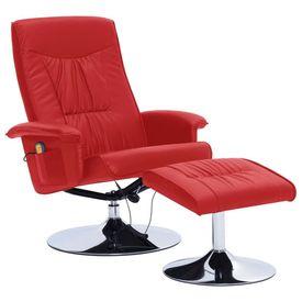 Fotoliu de masaj rabatabil cu taburet, roșu, piele ecologică