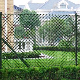 Gard de sârmă 1,5 x 15 m cu stâlpi și accesorii asamblare Verde